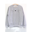 Funny Cat Printed Long Sleeve Round Neck Gray Pullover Sweatshirt
