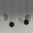 Resin Round Shade Hanging Lamp Nordic Style Black/Green/Grey Finish LED Suspension Light