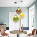 Flask LED Pendant Lights Nordic Style Hand Blown Glass Single Light Hanging Fixture for Cafe Restaurant