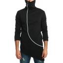 Men's Unique Sloping Zip Up Stand Collar Long Sleeve Plain Asymmetrical Hem Longline Slim Fit Sweatshirt