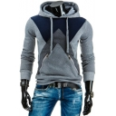Men's New Stylish Geometric Colorblock Double Zip-Embellished Long Sleeve Fitted Drawstring Hoodie