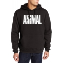 Men's Stylish Letter ANIMAL Pattern Long Sleeve Sports Drawstring Hoodie with Pockets