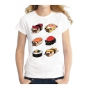 Dog Sushi Printed Short Sleeve Round Neck White Fitted Tee