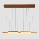 Acrylic Rectangle Pendant Light Contemporary 7 Light Suspended Light in Gold for Foyer