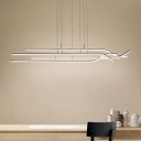 4 Light Linear Cluster Pendant Light Minimalist Metal Hanging Light for Coffee Shop