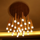 Wood Matchstick Cluster Pendant Light Modern Design Multi Light Drop Lamp for Coffee Shop