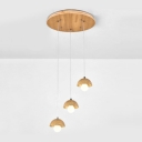 Dome Shade Pendant Light Simple Modern Oak 3 Light Hanging Light for Living Room