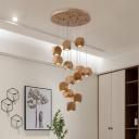 Multi Light Geometric Suspension Light Nordic Style Wood Lighting Fixture for Bedroom