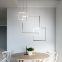 Plastic Squared Drop Light Simplicity 3 Light Ultra Thin Suspended Lamp for Restaurant