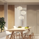 Acrylic Curved Pendant Lamp Contemporary 3 Light Accent Suspended Lamp for Coffee Shop