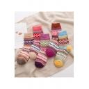 New Trendy Tribal Printed Thick Warm Woolen Socks Five-Pair