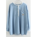 Light Blue Round Neck Lace Patch Long Sleeve Button Embellished Denim Shirt with Chest Pocket