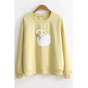 Cartoon Swan Embroidered Long Sleeve Round Neck Regular Fitted Leisure Sweatshirt