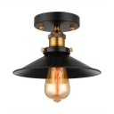 Industrial Antique Black Single Semi Flush Light in Railroad Shade for Farmhouse Kitchen Porch