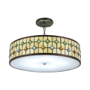 Beige Round Pendant Light Tiffany Style Stained Glass 3 Light/5 Light Suspended Light