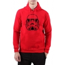 Cool Cartoon Robot Printed Men's Long Sleeve Regular Fitted Hoodie