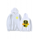Stylish Cartoon Cobra Snake Printed Logo Chest Loose Fitted Hoodie