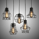 A LOFT Set of LED Multi Light Pendant with Five Iron Cage Bulb Lights