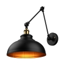 12'' Wide Dome Shade Industrial Adjustable LED Wall Light in Black Finish