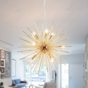 Brass Sputnik Hanging Light Modern Fashion Metal 9 Heads Chandelier Lamp for Restaurant