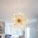 Brass Sputnik Hanging Light Modern Fashion Metal 9 Heads Chandelier Lamp for Restaurant
