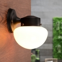 1 Bulb Bowl Shape Lighting Fixture Minimalist Closed Glass Wall Sconce in Black for Kids