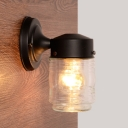 Black Finish Cylindrical Wall Lamp with Clear Ripple Glass Contemporary 1 Light Wall Sconce