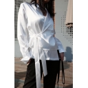 Unique Stylish Wrap Front Bow-Tied Side Simple Plain White Satin Deconstructed Blouse