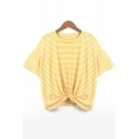 Round Neck Short Sleeve Fashion Pinstriped Print Knotted Hem Loose Leisure T-Shirt