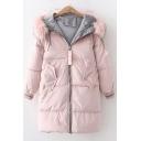 Unique Contrast Trim Fur-Trimmed Hood Long Sleeve Warm Thick Longline Zip Up Padded Coat