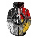 New Arrival Fashion 3D Colorblock Indian Figure Print Pullover Box Hoodie