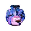 Trendy Customized 3D Cartoon Printed Long Sleeve Relaxed Loose Purple Unisex Hoodie