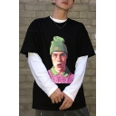 Cool Beanie Boy Figure Printed Men's Crewneck Oversized Black Cotton T-Shirt