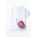New Stylish Retro Shark Mouth Printed Round Neck Basic Loose Cotton T-Shirt
