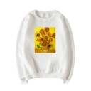 Van Gogh Famouse Oil Painting Print Crewneck Long Sleeve Fitted Pullover Sweatshirt