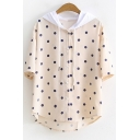 Cute Polka Dot Printed Short Sleeve Hooded Button Front Cotton T-Shirt for Students