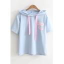 Simple Letter Applique Short Sleeve Drawstring Hooded T-Shirt