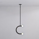 2 Lights C Shape Chandelier Light Modernism Milky Glass Suspended Light in Black Finish