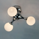 Modo Semi Flush Mount Lighting Post Modern Frosted Glass 3 Heads Ceiling Light in Chrome
