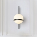 Ball Wall Light Minimalist Opal Glass 1 Light Wall Mount Fixture in Black for Hallway
