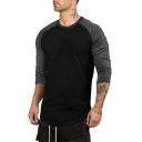 Round Neck Three-Quarter Raglan Sleeve Fashion Colorblock Fitted Cotton Fitness T-Shirt
