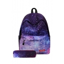 30*17*40cm Girls Trendy Galaxy Printed Purple School Bag Backpack with Pen Bag