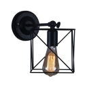 Square Metal Frame Sconce Light Vintage 1 Bulb Wall Mount Fixture in Black for Staircase