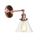 Retro Style Coolie Wall Sconce Clear Glass 1 Bulb Wall Light with Copper Round Base
