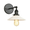 White Glass Flared Wall Sconce Industrial Modern 1 Light Wall Light Fixture in Black for Coffee Shop