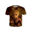 Hot Popular 3D Comic Character Print Short Sleeve Brown T-Shirt
