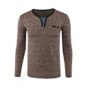 Stylish Patched Zip V-Neck Long Sleeve Fashion Heather Linen Fitted T-Shirt for Men