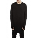 Men's Simple Plain Unique Cool Glove Long Sleeve Round Hem Loose Long T-Shirt