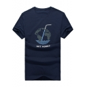 Funny Letter GOT MORE Earth Drink Print Men's Casual Cotton Short Sleeve Navy Tee