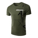 Unique Awesome Letter Print Side Basic Short Sleeve Casual Fitted T-Shirt for Guys
